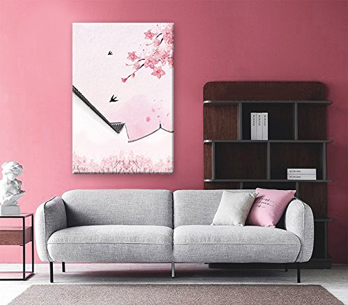 Traditional Chinese Style Painting of Pink Cherry Blossom and Birds with Acient Wall in Spring
