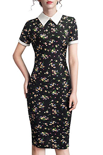 HOMEYEE Damen Vintage Umlegekragen Patchwork Bodycon Stretch Business Kleid B518