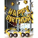 Birthday Decorations Boys, Happy Birthday Banner Party Supplies Decorations Banner,Foil Latex Confetti Balloons Tassel Garland for Bridal Shower Supplies (Black Gold)