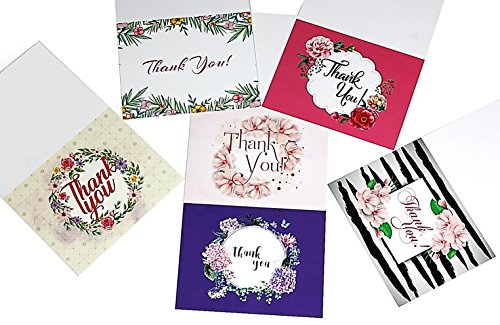Thank You Cards Bulk with Envelopes - 36 Cards, 6 Elegant Designs with Blank Inside for Your Favorite-Include Plastic Box for Wedding Baby Shower Graduation Business Funeral Farewell (Set B)