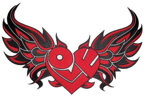 Tribal Heart - Leather Supreme Red Tribal Heart with Flames Embroidered Biker Patch -Red-Small