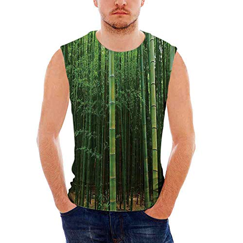 Bamboo Mens Comfort Cotton Tank Top,Bamboo Forest Exotic Fresh Jungle Vision wi