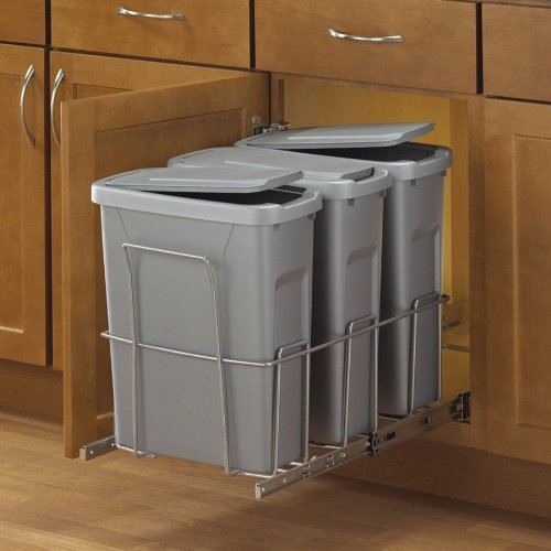 Slide-Out Waste & Recycling Bin/Lidded in Frosted Nickel - Pull Out Recycling