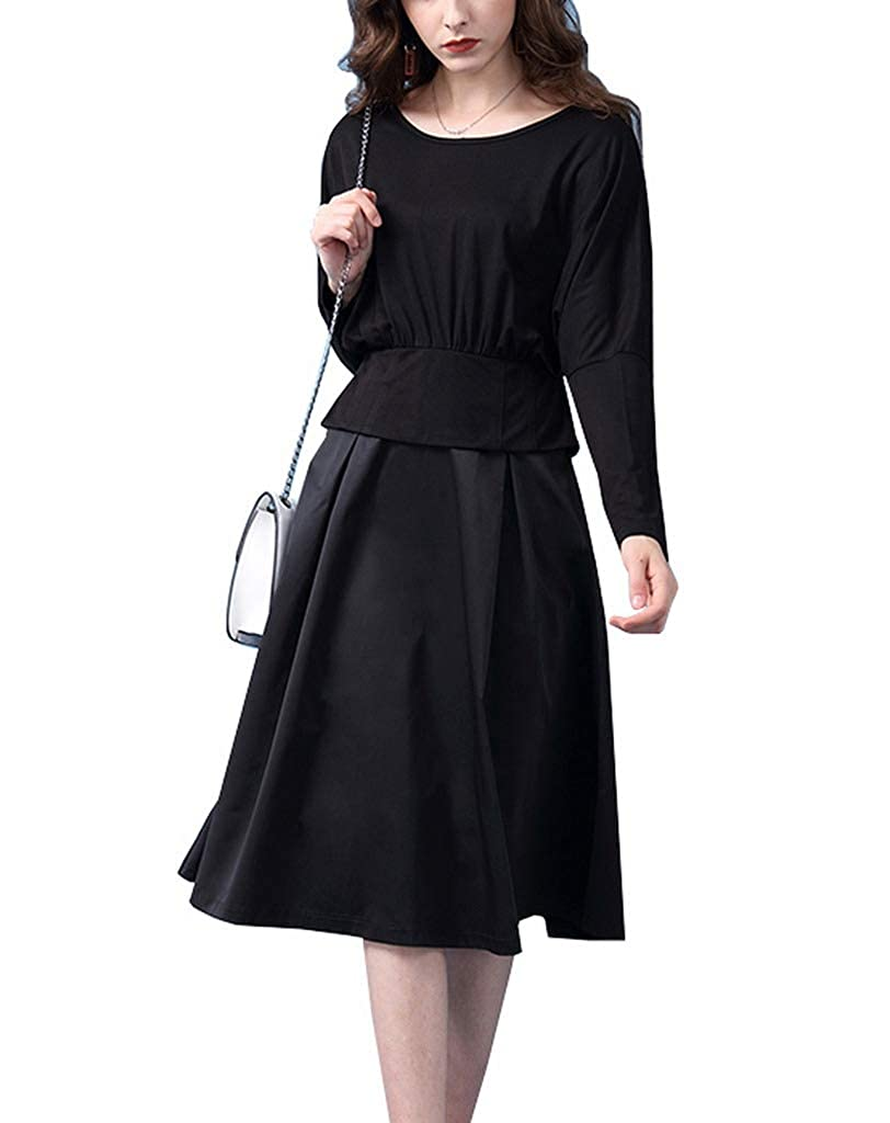 Style7 Black COMVIP 7Kinds Womens Occident Autumn Casual Solid Knit Aline Midi Dresses