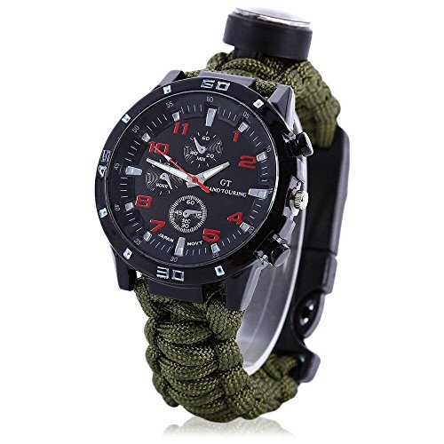 ARMY GREEN-Upgraded Survival Watch - Deluxe Survival Gear - Paracord Watch with Thermometer, fire Starter, Whistle, Compass and more - Premier Tactical Gear