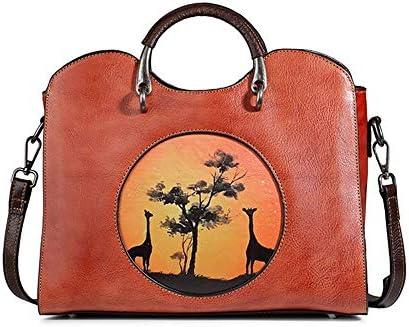 バッグ - トップレイヤー牛革/ポリエステル、レトロスタイルのパンクレディースハンドバッグ、ショルダーバッグ/ショルダーバッグ、大容量/ソフト/ウェアラブル(31x15x23cm) よくできた (Color : Red)