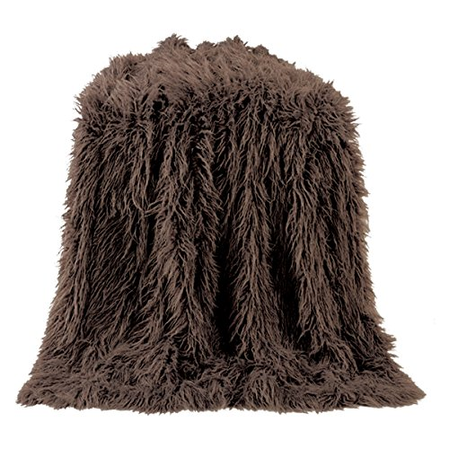 - HiEnd Accents Mongolian Faux Fur Throw, 50X60 Chocolate