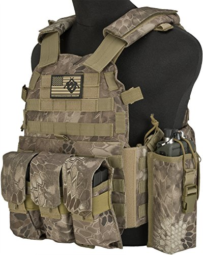 (Evike - Avengers Airsoft Tactical Vest 6D9T4A w/Magazine & Radio Pouches - Arid Serpent)