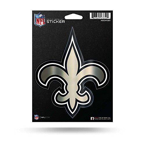 Rico Industries NFL New Orleans Saints Die Cut Metallic StickerDie Cut Metallic Sticker, Black, 5.75 x 7.75-inches