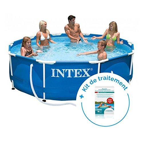 RAVIDAY Pack piscina tubular Intex Metalframe 3.66 x 0.76 m + ...