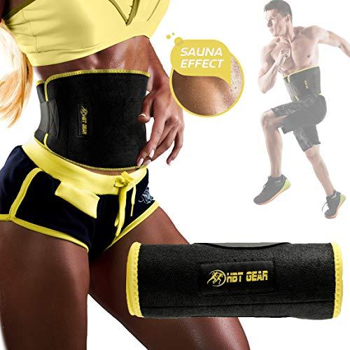 HBT Gear Waist Trimmer Belt for Men & Women - Fast Weight Loss Stomach Fat Burner Sweat Belt Waist Trainer w/ Bonus Included ()