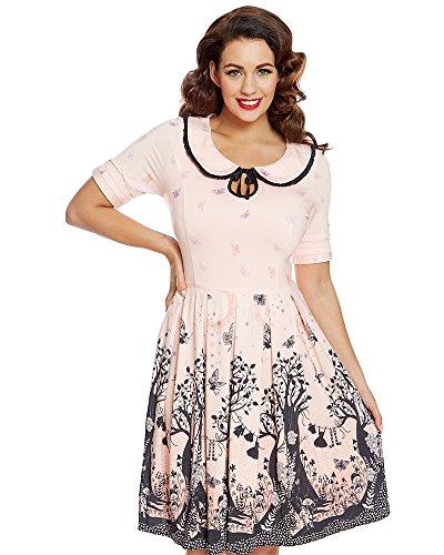 Lindy Bop Petal' Pink Fairy Print Swing Dress - S