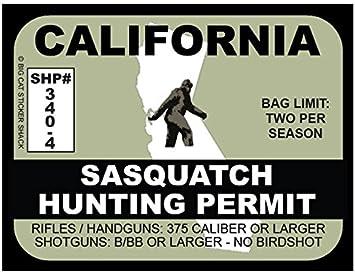 "California Bigfoot Hunter Hunting Permit Sticker Sasquatch Vinyl Decal 2.4/"" x 4/"""