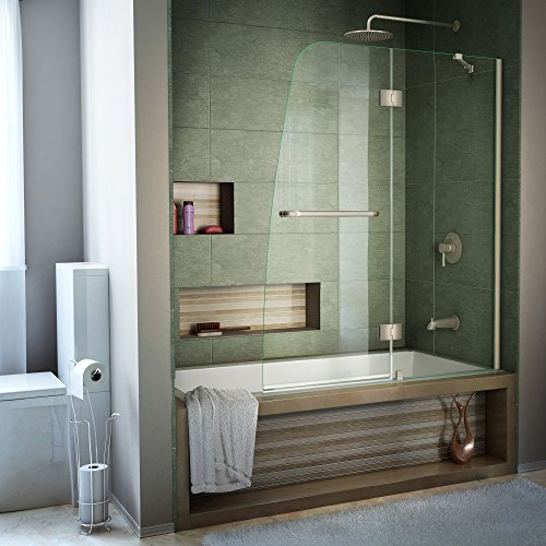 (DreamLine Aqua 48 in. W x 58 in. H Frameless Hinged Tub Door in Brushed Nickel,)