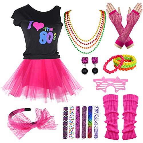 9 Pack Girls 1980s Tutu Skirt Lace Leggings Shutter Glasses Costume Set (Hot Pink, 7-8 Years) -