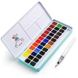 MeiLiang Watercolor Paint Set 36 Vivid Colors in Pocket Box with Metal Ring and Bonus Watercolor Brush Perfect for Students