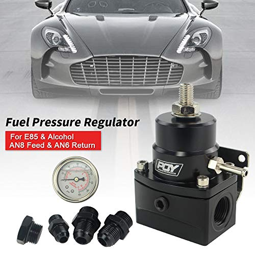 PQYRACING Fuel Pressure Regulator with Gauge AN8 Feed & AN6 Return Line & AN8 End Cap