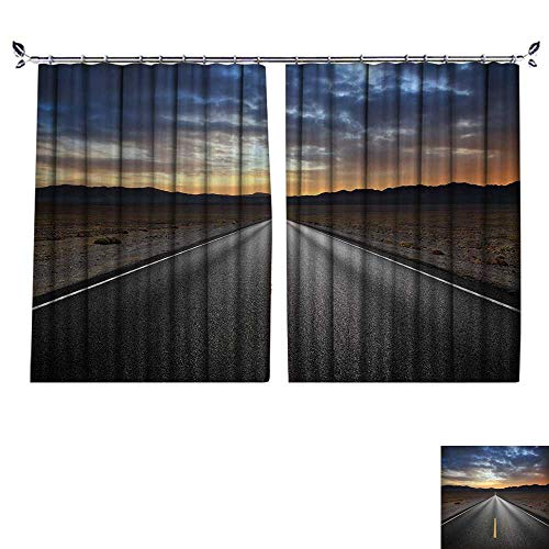 DESPKON Decoration Polyester Material Desert Highway and Mountains at Sunset,Death Valley National Park,California for Children's Room W72 x L84 ()