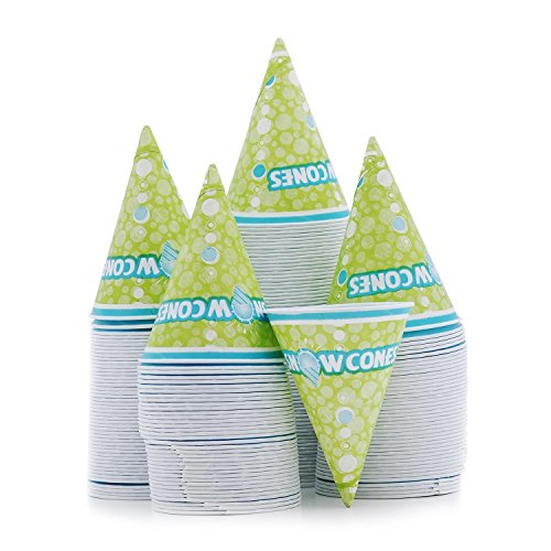 Hawaiian Shaved Ice 6oz Paper Snow Cone Cups | 200 Ct. of Green Disposable Paper Funnel Cups | Durable Cups Perfect for Snow Cones, Shave Ice, & Other Frozen Treats | For Household or Commercial Use