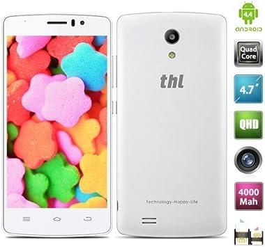 4.7 Pulgada THL 4000 Smartphone Android 4.4 MTK6582 3G 1.3GHz Quad Core 1GB 8GB 4000mAh OTG Doble Cámaras Blanco: Amazon.es: Electrónica