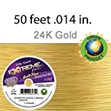 Extreme Flex - 19 Strands - 24 K Gold- Beading Wire - Soft Flex - .014 in. Fine. -Metallic Flex Wire- 50 Feet