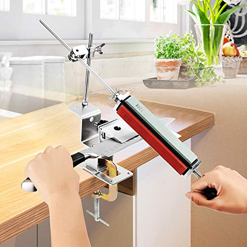 Knife Sharpener Professional Fixed-Angle Sharpener with 4 Sharpening Stones, Kitchen Knife Sharpener, Stainless-Steel, Safe and Easy to Use Tikitaka