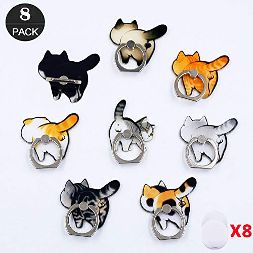 - ZOEAST(TM) 8pcs Phone Ring Grip Persian Siamese Cat Kitty Kitten Universal 360° Adjustable Holder Car Desk Hook Stand Stent Mount Kickstand Compatible with iPhone Samsung Android Pad Tablet (8 Pack)