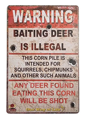 ERLOOD Warning Baiting Deer is Illegal Metal Tin Sign, Tin Signs Vintage Coffee Wall Coffee & Bar Decor,Size 12 X 8 ()