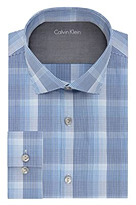 Calvin Klein Men's Stretch Xtra Slim Fit Large Plaid Spread Collar Dress Shirt