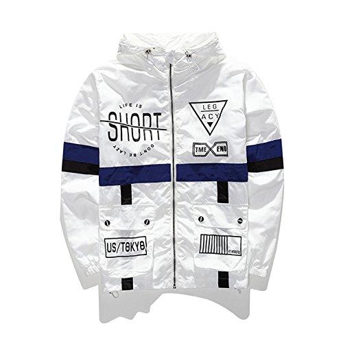 Marvin Cook Men Windbreaker Jacket Legacy Fashion Hip Hop Thin Zipper Casual Jacket Life Is Short Outwear White L (Jacket Legacy)