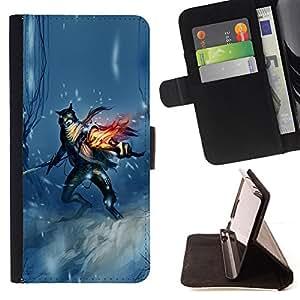 BullDog Case - FOR/HTC Desire 820 / - / cool monster warrior wolf fire snow sword cartoon art /- Monedero de cuero de la PU Llevar cubierta de la caja con el ID Credit Card Slots Flip funda de cuer