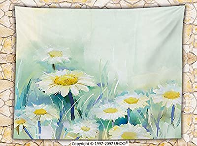Watercolor Flower Home Decor Fleece Throw Blanket Daisies on Grass Mother Earth Icons Impressionist Print Throw Pale Green