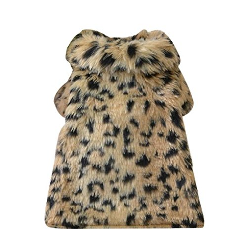 (haoricu Puppy Clothes, Woolen Dog Coat Leopard Printed Chiens Pet Clothes Dog Cat Clothing Luxury Coat Pet Wadded Jacket Gift Custome (M, Brown))