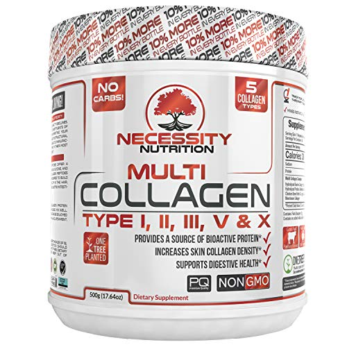 Multi Collagen Protein Powder 64 Servings High Quality Blend Grass-Fed Beef Chicken Wild Fish Marine Eggshell Collagen Peptides Hydrolysate Type I II III V X Low Carb Paleo Keto Supplement Gluten Free