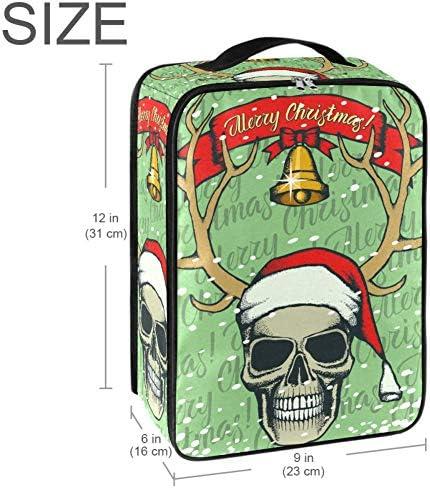 MYSTAGE シューズバッグ 靴箱 シューズケース シューズ袋 旅行収納ポーチ 二層式 靴入れ 小物収納 収納ケース アウドドア 出張 旅行 クリスマス スカル サンタ帽子