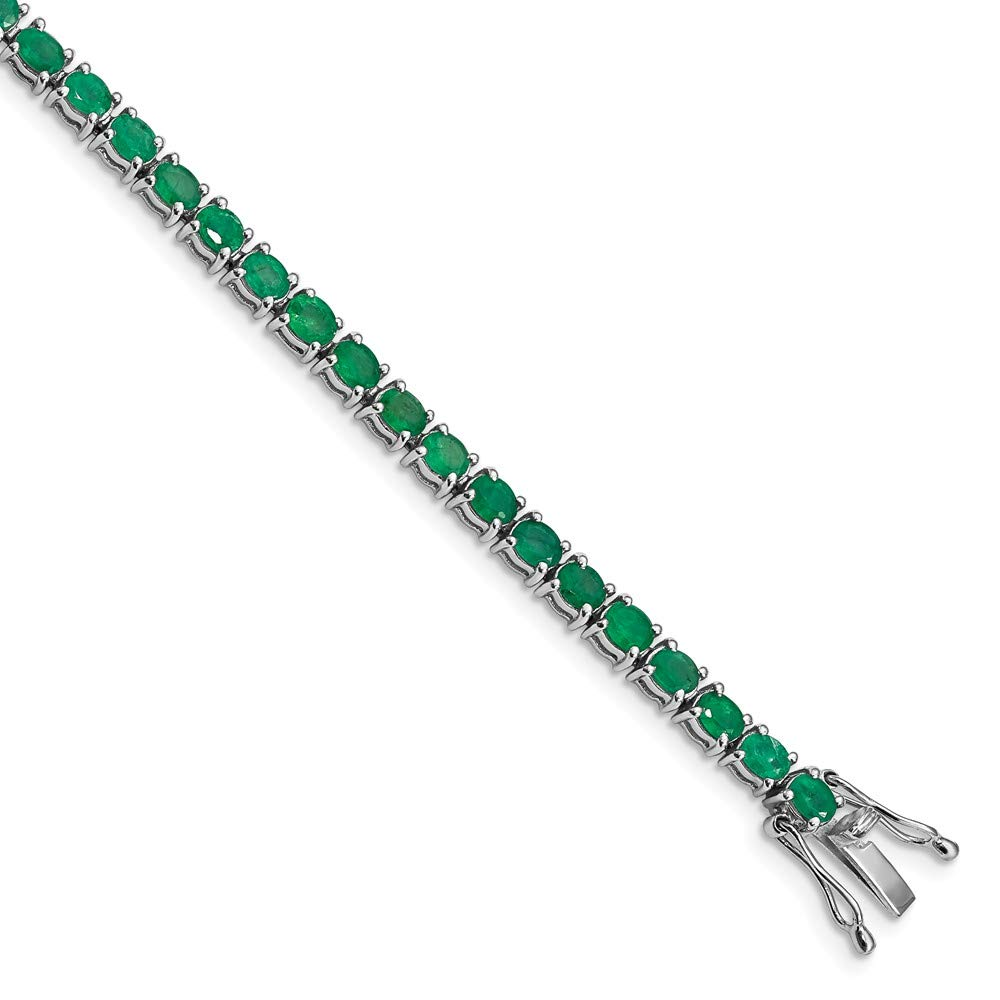 FB Jewels Sterling Silver Rhodium-plated Oval Emerald 7.5in Bracelet