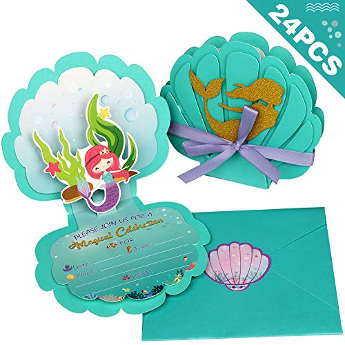 Halloween Birthday Invitation Wording (OurWarm Birthday Invitations 24pcs Mermaid Birthday Party Supplies for Baby Shower Invitations, 3D Pearlescent Paper Invitations with Envelopes, Kids Girls Birthday Baby Shower Wedding Pool Mermaid Themed Party)