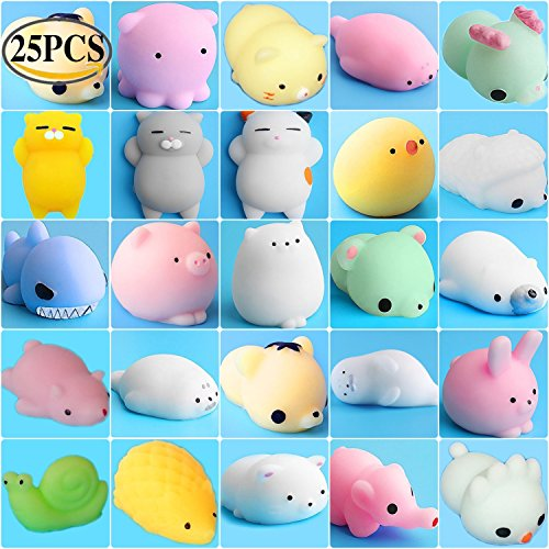 Shark Stress Reliever - ToopAir 25 PCS Prime Animals Squishies, Kawaii Mochi Squishy Set, Stress Reliever Squeeze Toys, Cute Cat, Seal, Pig, Rabbit, Sheep, Bear, Octopus, Chicken, Shark, Perfect Gift for Kids and Adults