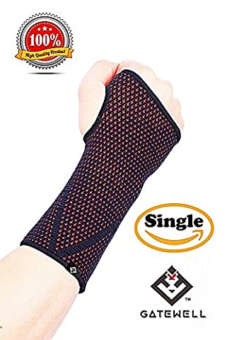 GATEWELL Light Series Elite Knitted Enwrap Compression Wrist Sleeve for Wrist Pain, Carpal Tunnel - Wrist Support - Wrist Brace (1 per package) RED - XL