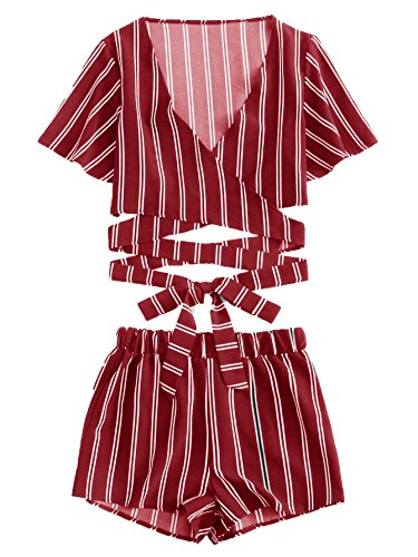 - SweatyRocks Women's 2 Piece Short Sleeve Striped Wrap Crop Top and Shorts Set Red M