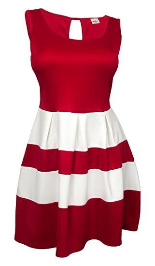 3c823dc45f8 eVogues Plus size Color Block Flare Mini Dress Red White - 1X at ...