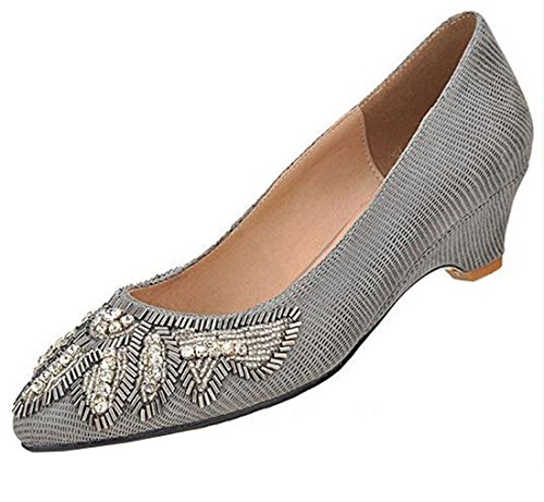 Wildleder Pumps Damen Strass Gold Laruise A7qvZ7f