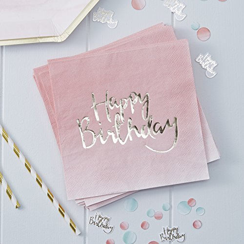 Ginger Ray PM908 Pick and Mix Foiled Pink Ombre Happy Birthday Party Paper Napkins 20 Pack Gold