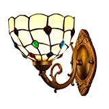 Mediterranean Wall Sconce Lamp - Tiffany Style Handmade Stained Glass Wall Lights Vintage Crystal Beads Bedside Lamp for Bedroom Living Room Hallway - 8 Inch