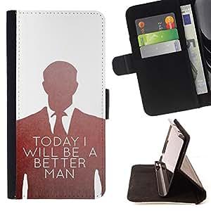 BullDog Case - FOR/Sony Xperia Z1 L39 / - / BE BETTER MAN SUIT VIGNETTE WHITE /- Monedero de cuero de la PU Llevar cubierta de la caja con el ID Credit Card Slots Flip funda de cuer