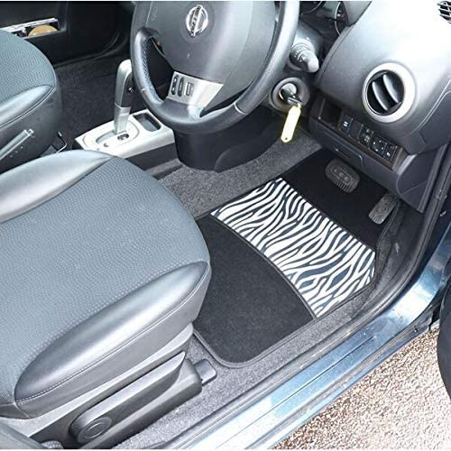 All Weather Set of 4 Needle Punch Car Interior Accessory Streetwize SWCM132 Car Mat Set PVC Backing Car Mats Heavy Duty Zebra Print