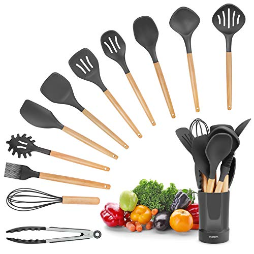 Silicone Cooking Utensil Kitchen Utensils Set 11 Pcs, Cooking Tools for Nonstick Cookware Heat Resistant, BPA Free Utensil Sets, with Wooden Handle, Holder Tongs, Turner, Spatula, Spoon, Brush, Whisk