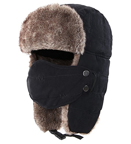 (Connectyle Outdoor Trooper Trapper Hat Warm Winter Hunting Hats with Ear Flaps Mask Ushanka Hat Black)