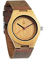 Treehut Wooden Bamboo Watch with Genuine Brown Leather Strap Quartz Analog wi...