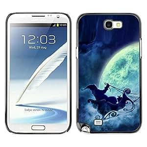 Be Good Phone Accessory // Dura Cáscara cubierta Protectora Caso Carcasa Funda de Protección para Samsung Note 2 N7100 // Santa Claus Full Moon Sleigh